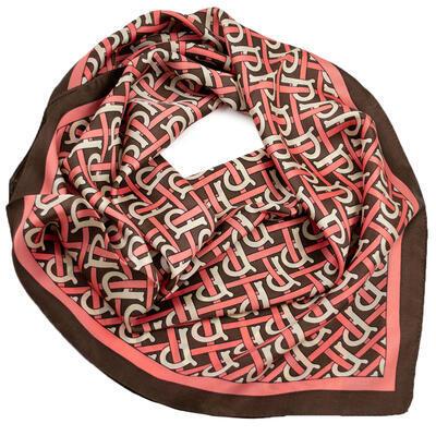 Šátek - hnědo-růžový s potiskem - 1
