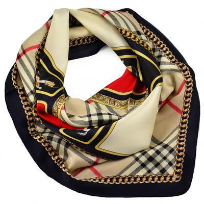 Šátek - hnědo-modrý s potiskem - 1