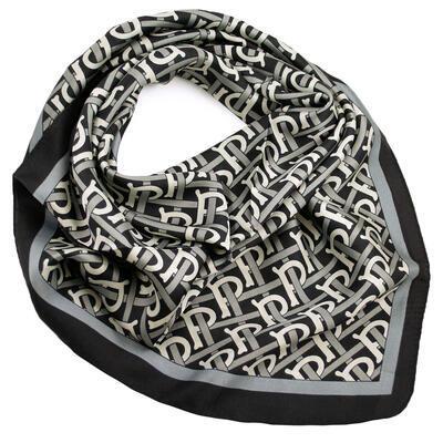 Šátek - černo-bílý s potiskem - 1