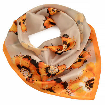 Šátek hebký - béžovo-oranžový s květy - 1