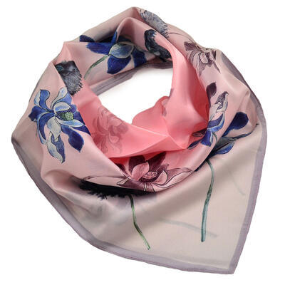 Šátek hebký - růžovo-modrý s květy - 1