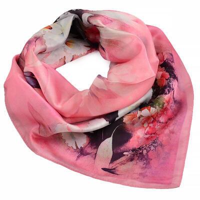 Šátek hebký - růžový s květy - 1