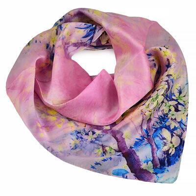 Šátek hebký - růžový s potiskem - 1