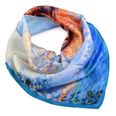 Šátek hebký - modrý s potiskem - 1