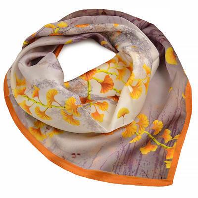 Šátek hebký - hnědo-zlatý s potiskem - 1