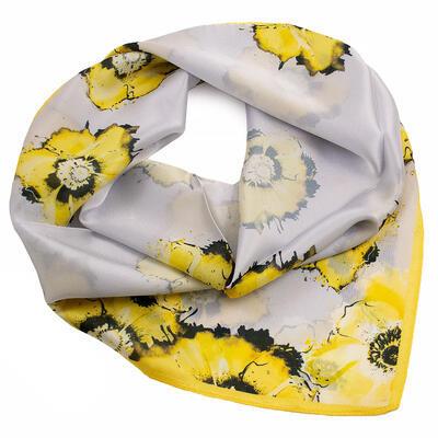 Šátek hebký - šedo-žlutý s květy - 1