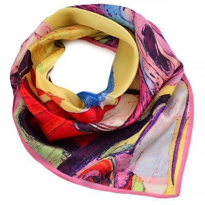 Šátek hebký - barevný s potiskem - 1