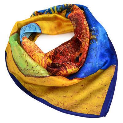 Šátek hebký - zlato-modrý s potiskem - 1