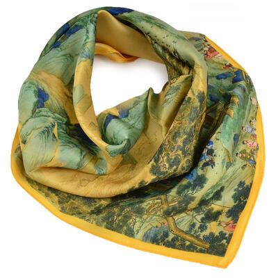 Šátek hebký - zlato-zelený s potiskem - 1