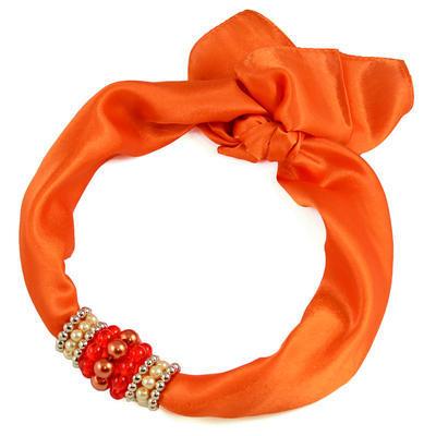 Šátek s bižuterií Letuška - oranžový - 1