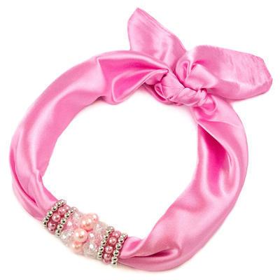 Šátek s bižuterií Letuška - růžový - 1