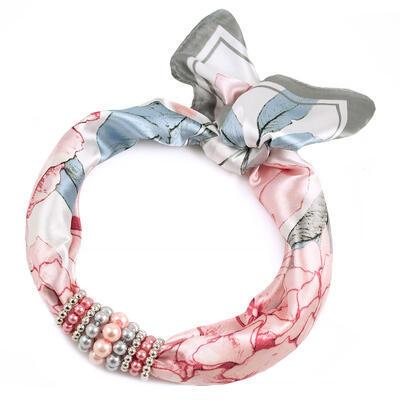 Šátek s bižuterií Letuška - bílo-růžový - 1