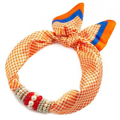 Šátek s bižuterií Letuška - oranžovo-bílý - 1