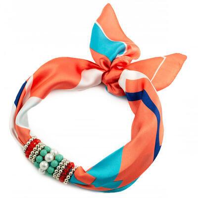 Šátek s bižuterií Letuška - oranžovo-modrý - 1