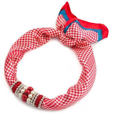 Šátek s bižuterií Letuška - červeno-bílý - 1