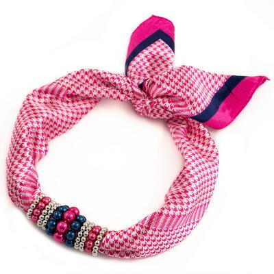 Šátek s bižuterií Letuška - růžovo-bílý - 1