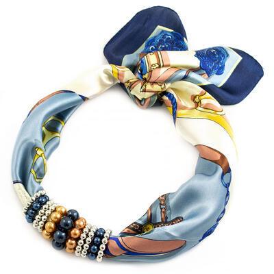 Šátek s bižuterií Letuška - modro-béžový - 1