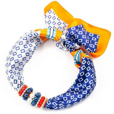 Šátek s bižuterií Letuška - modro-oranžový - 1