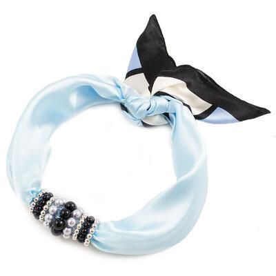 Šátek s bižuterií Letuška - bledě modrý - 1
