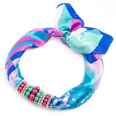 Šátek s bižuterií Letuška - modro-růžový - 1