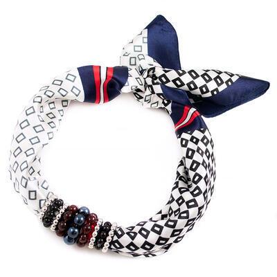 Šátek s bižuterií Letuška - modro-bílý - 1