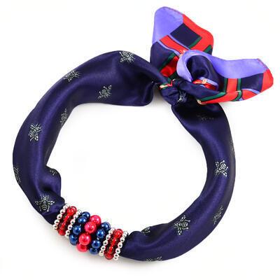 Šátek s bižuterií Letuška - modro-červený - 1