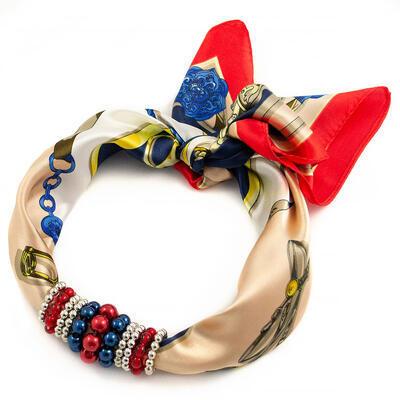 Šátek s bižuterií Letuška - hnědo-červený - 1