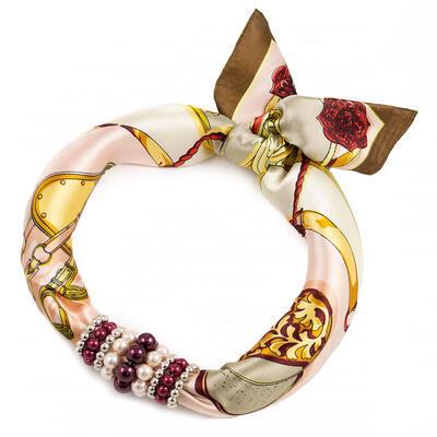 Šátek s bižuterií Letuška - hnědo-růžový - 1