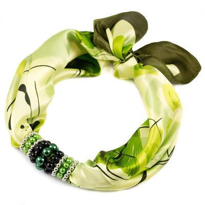 Šátek s bižuterií Letuška - zelený s potiskem - 1
