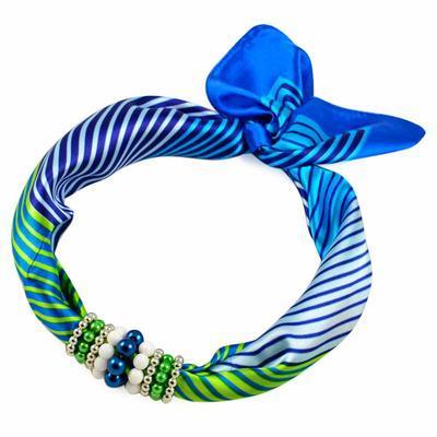 Šátek s bižuterií Letuška - modrozelený - 1