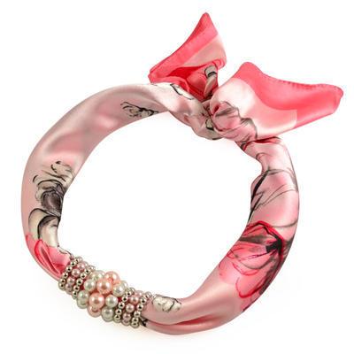 Šátek s bižuterií Letuška 299let004-23.27 - růžový - 1