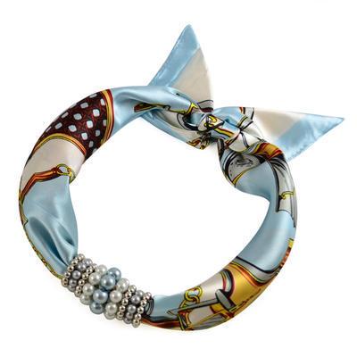 Šátek s bižuterií Letuška 299let009-01.31 - bílomodrý - 1