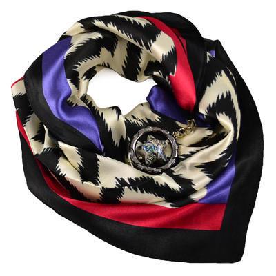 Šátek s bižuterií Stella - černobílý