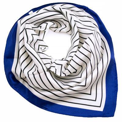 Šátek saténový - bílo-modrý s pruhy - 1