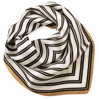 Šátek saténový - bílo-hnědý s pruhy - 1