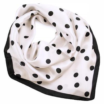 Šátek saténový - bílo-černé puntíky - 1
