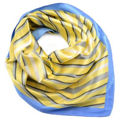 Šátek saténový - žlutomodrý s pruhy - 1
