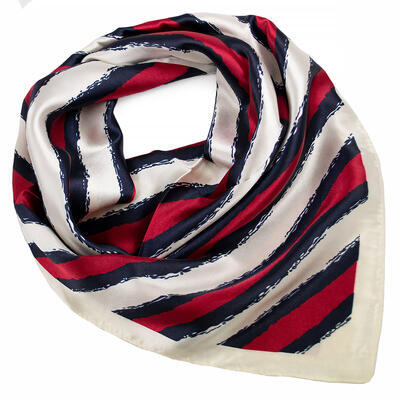 Šátek saténový - červeno-bílý s pruhy - 1