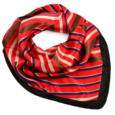 Šátek saténový - červenočerný s pruhy - 1