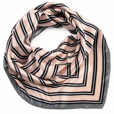Šátek saténový - růžovo-šedý s pruhy - 1