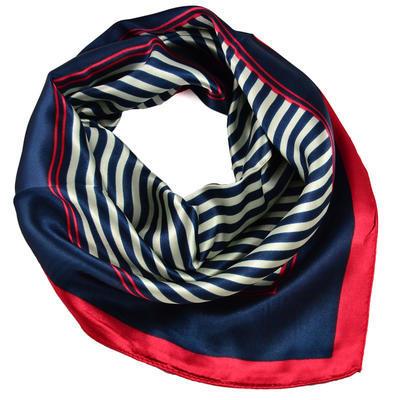 Šátek saténový - modročervený pruhovaný