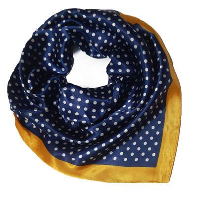 Šátek saténový - modrý puntíkovaný - 1