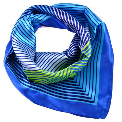 Šátek saténový - modrozelený pruhovaný