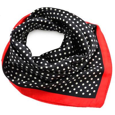 Šátek saténový - černočervený puntíkovaný - 1