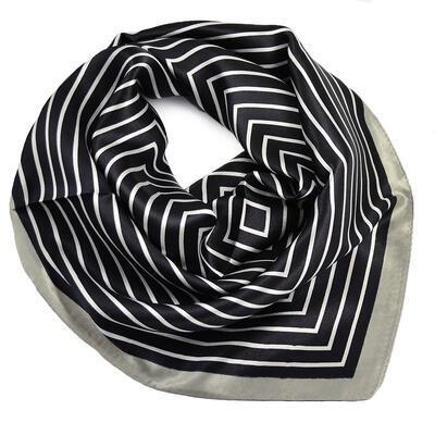 Šátek saténový - černo-šedý s pruhy - 1