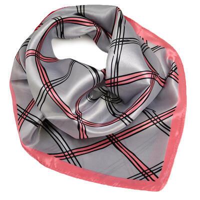 Šátek saténový - šedo-růžový s pruhy - 1