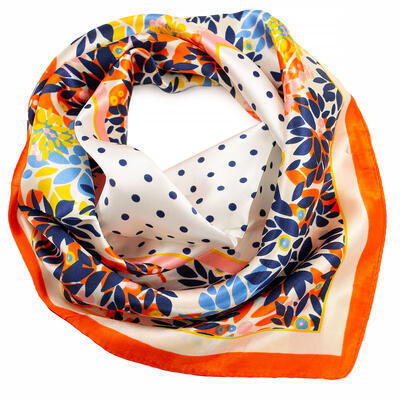 Šátek saténový - bílo-oranžový s potiskem - 1