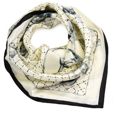 Šátek saténový - černobílý - 1
