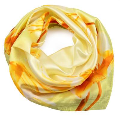 Šátek saténový - žlutý s květy - 1