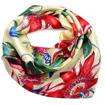 Šátek saténový - béžovčervený s kytičkami - 1